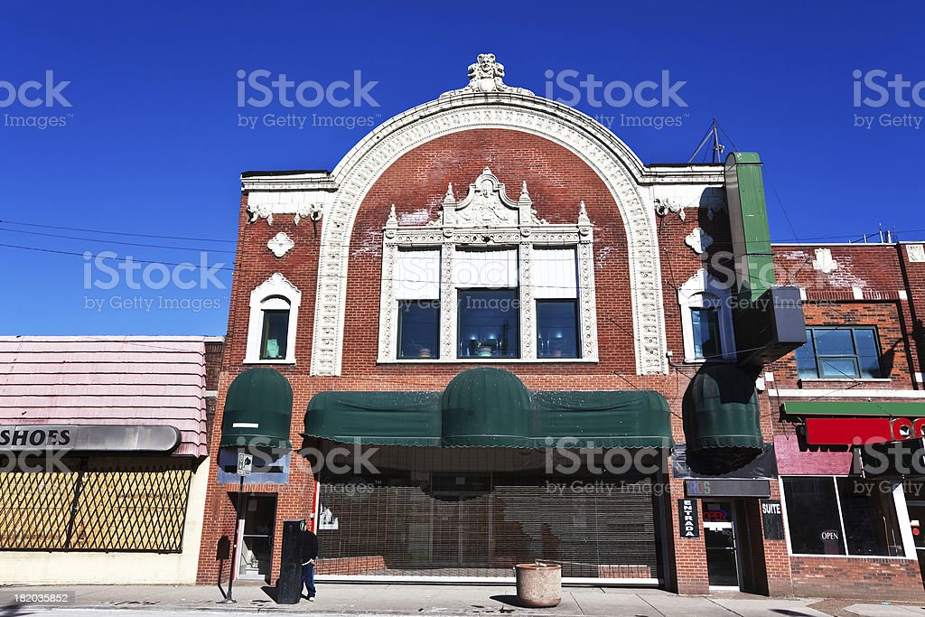 Atlantic Theater Facade in Little Village, Chicago royalty-free stock photo