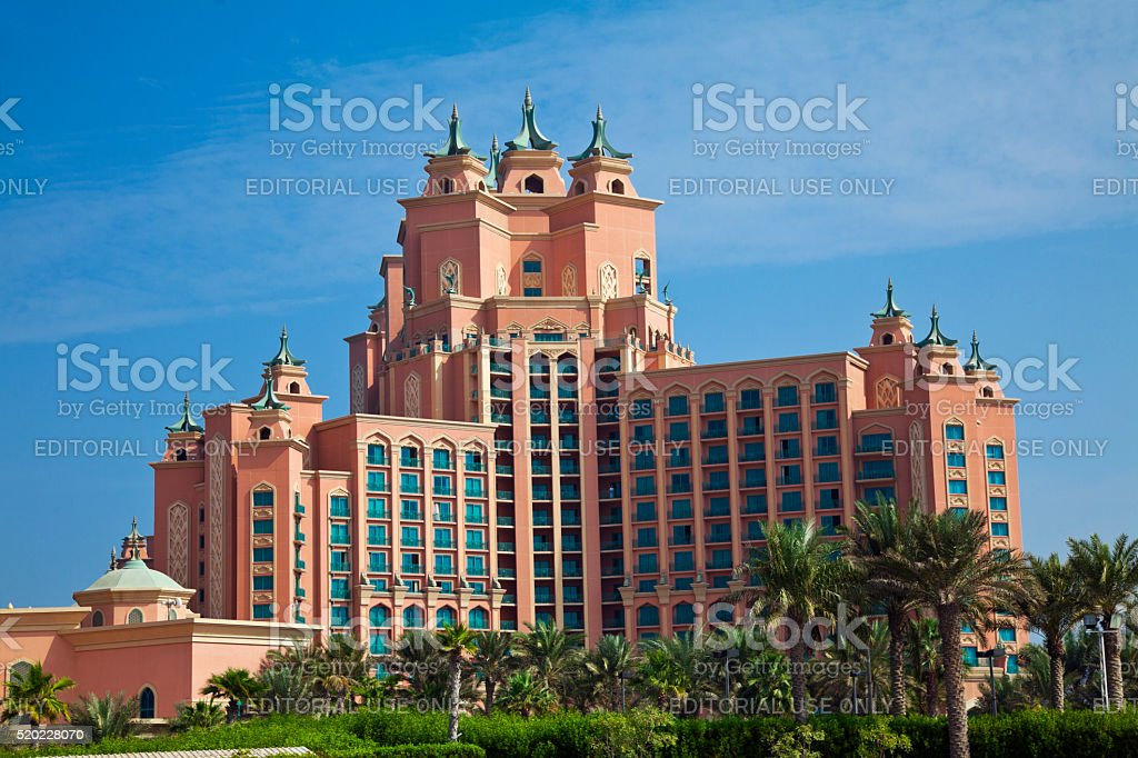 Atlantis hotel on Palm Jumeirah island, Dubai stock photo