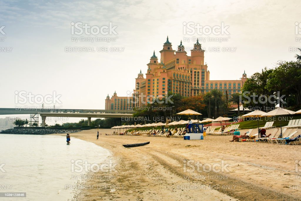 Atlantis hotel on the Palm Jumeirah island, view from the beach stock photo