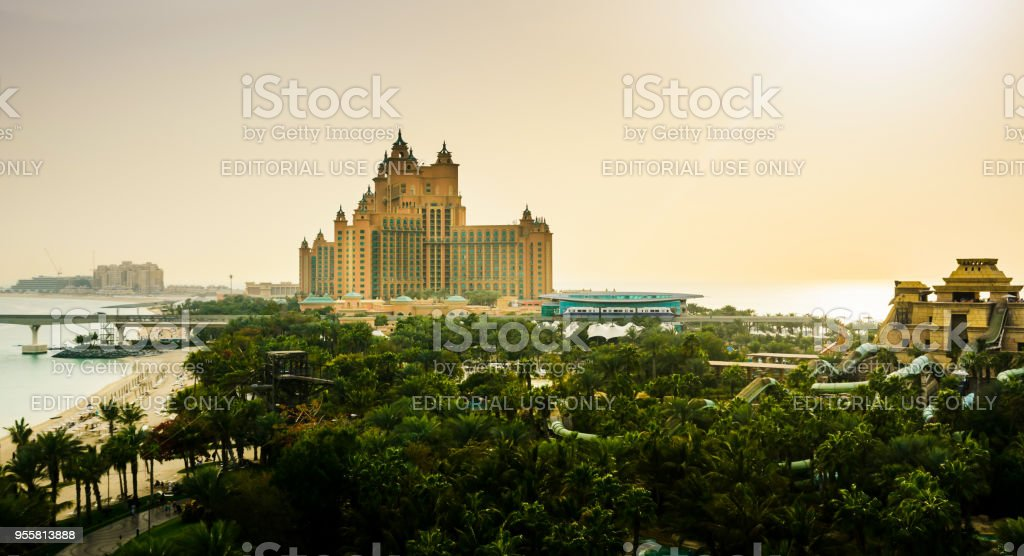 Atlantis hotel on the Palm Jumeirah island, view from the water park stock photo