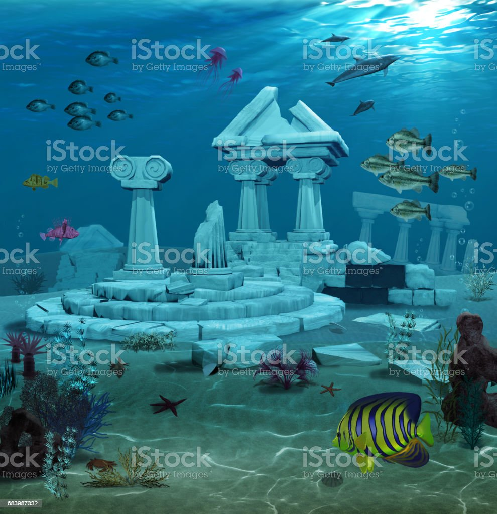 Atlantis Ruins Underwater stock photo