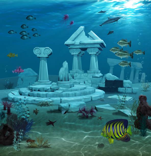 Atlantis Ruins Underwater stock photo