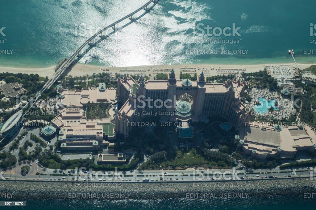 Atlantis The Palm Hotel aerial view stock photo