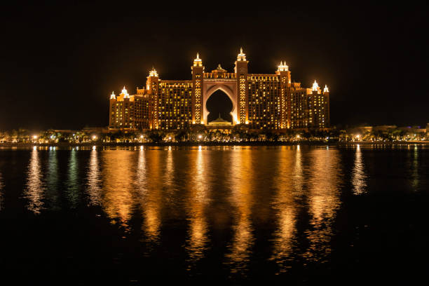 Atlantis, The Palm, The multi-million dollar Atlantis Resort, Hotel & Theme Park at the Palm Jumeirah Island, A view from The Pointe Dubai, UAE