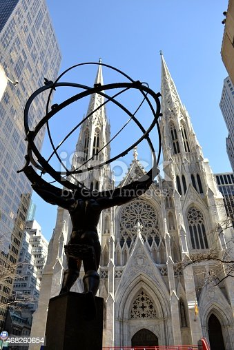 Picture from behind Atlas' statue at the Rockefeller center with ST. Patrick's cathedral across the street