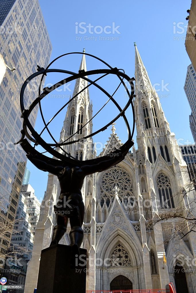 Atlas and St. Patrick from the right stock photo