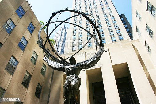 New York City, USA - August 24, 2015: Atlas statue at Rockefeller Center in New York City