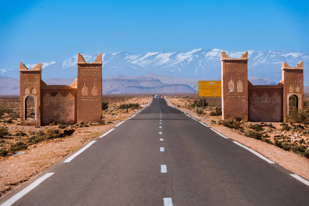 Atlas Gate on the road in the Maroccan desert stock photo