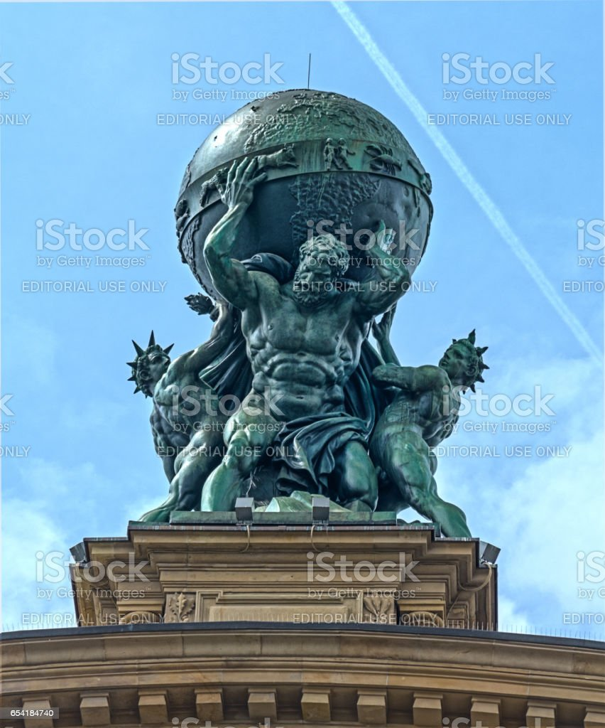 Atlas God Statue stock photo