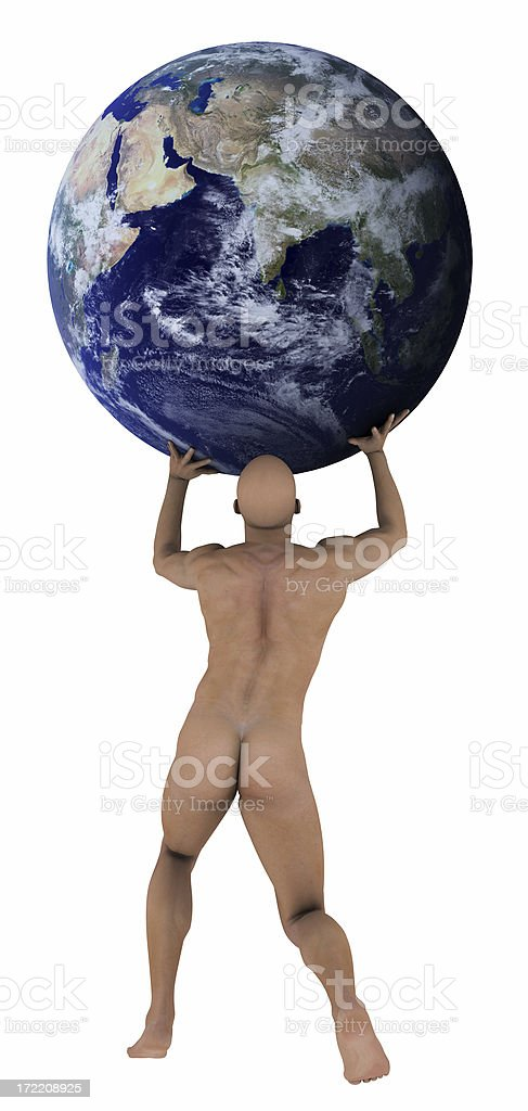 Atlas holding earth over head royalty-free stock photo