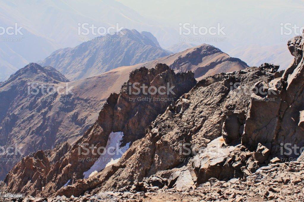 Atlas Mountains in Morocco. Treking on the highest peak. stock photo