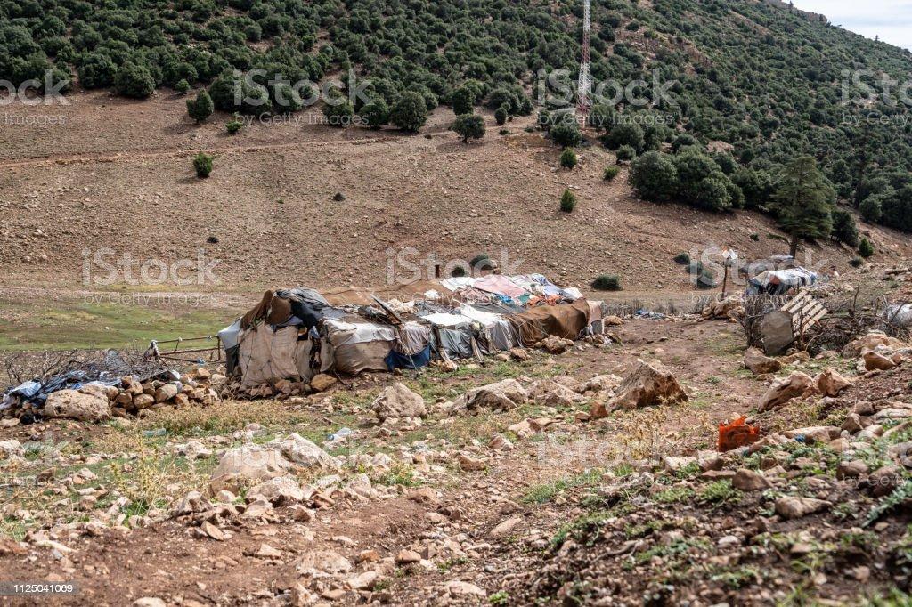 Atlas Moutain, Morocco - September 16 2018 A nomads hut in the Atlas mountain, Morocco stock photo