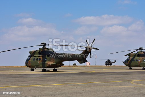 Atlas oryx helicopters on a military airfield, Pretoria, South Africa