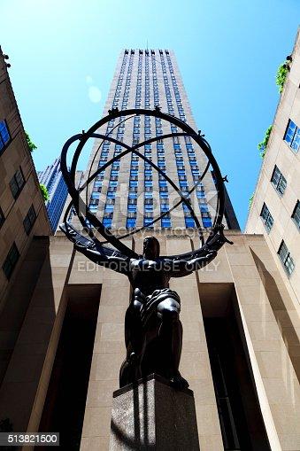 New York, NY, USA - May 27, 2013: Atlas statue at Rockefeller Center in New York City