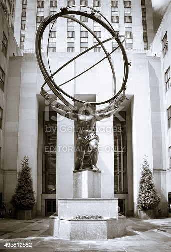 New York City, USA - September 5, 2014: Atlas statue in front of Rockefeller Center New York City