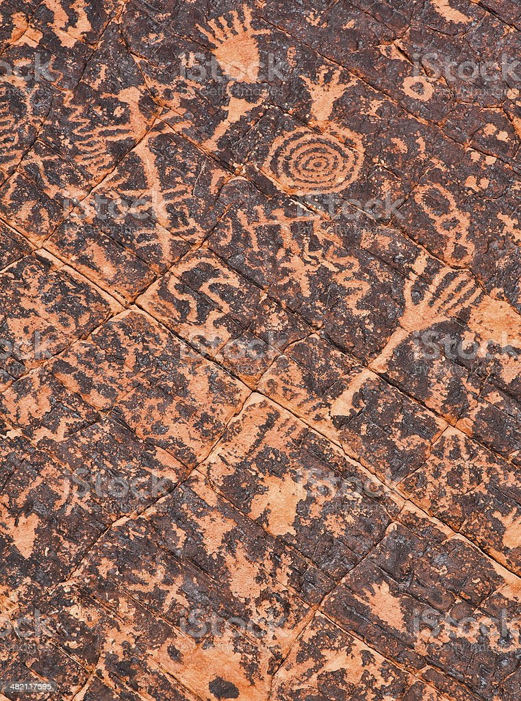 Atlatl Rock Petroglyphs in Valley of Fire State Park royalty-free stock photo