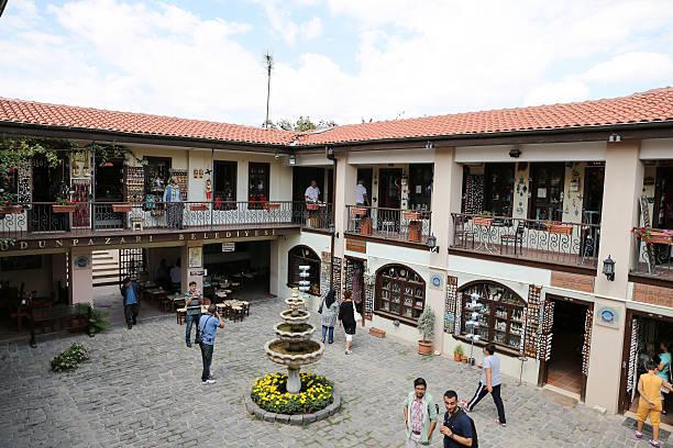 atlihan handicrafts bazaar - karavanserai stockfoto's en -beelden