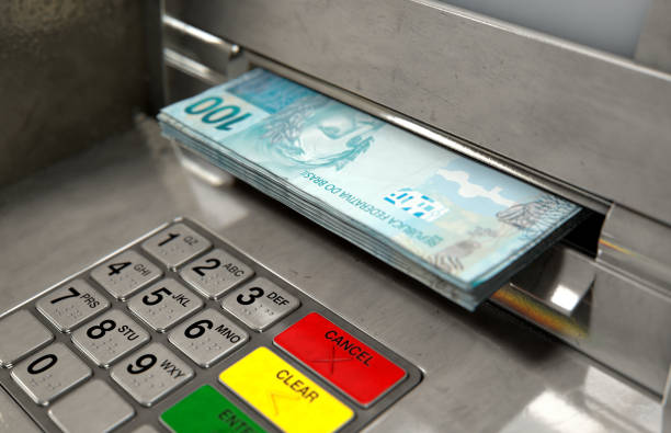 atm facade cash withdrawel - banks and atms stock pictures, royalty-free photos & images