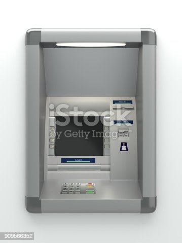 Atm machine with a card reader. Display screen, buttons, cash dispenser, receipt printer. Pin code safety, automatic banking, electronic cash withdrawal, bank account access concept. 3D illustration