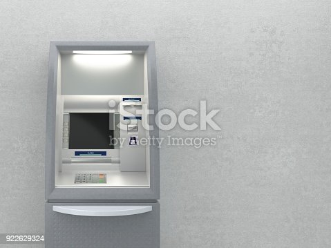 istock Atm machine on wall 922629324