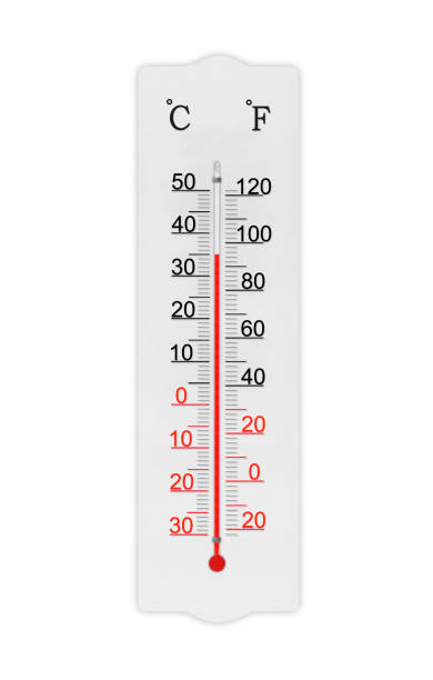 Atmosphere thermometer isolated on white background. Ambient temperature plus 35 degrees celsius stock photo