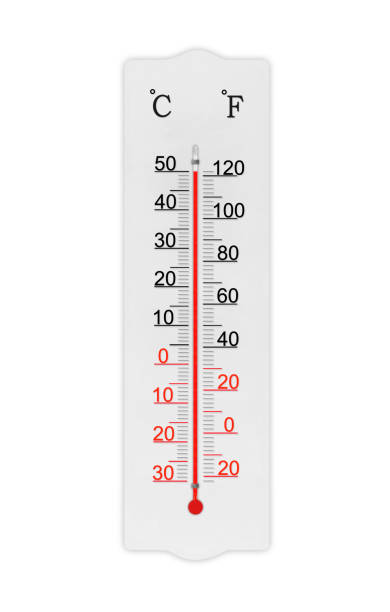 Atmosphere thermometer isolated on white background. Ambient temperature plus 50 degrees celsius stock photo