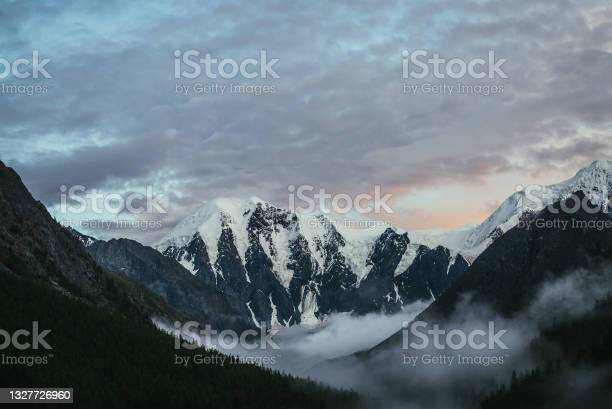 Photo of Atmospheric alpine landscape with silhouettes of trees on background of great snowy mountains and low clouds in valley under violet orange dawn cloudy sky. Awesome sunset or sunrise mountain scenery.