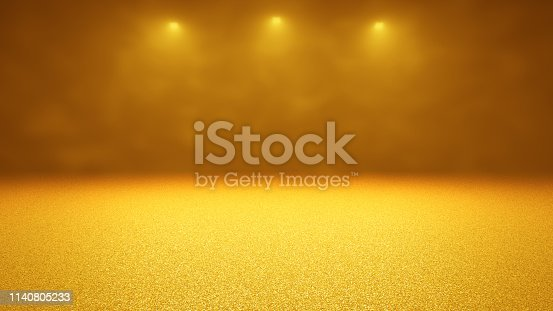 645448998 istock photo atmospheric golden stage background - three spotlights shine through dusty air on twinkling gold glitter on a stage 1140805233