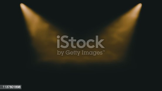 645451374istockphoto atmospheric golden stage background - two bright spotlights shine through dusty air 1137801898