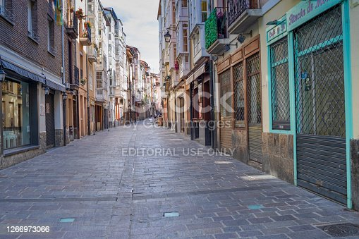 istock Atmospheric medieval street in the Old City 1266973066