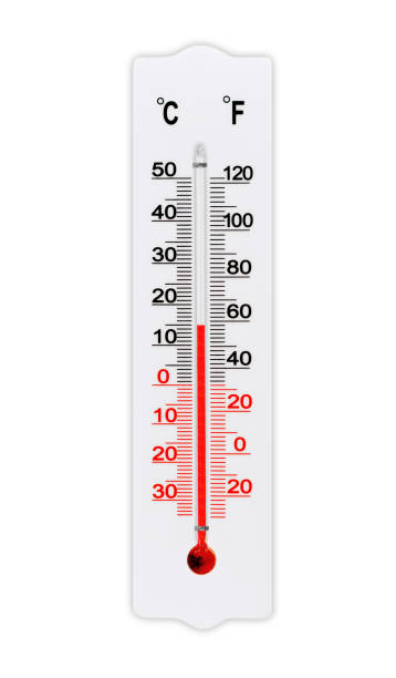 Atmospheric plastic meteorology thermometer isolated on white background. Air temperature plus 15 degrees celsius stock photo