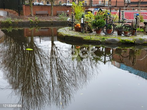 Atmospheric scene  of  tree reflections in the restored Victorian canal system in Castlefield area of Manchester