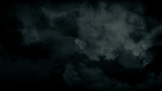 Atmospheric spooky halloween smoke. Abstract magic haze and fog background. 4K Cloud in slow motion on black. 3D illustration VFX element overlay with puffs slowly floating through space