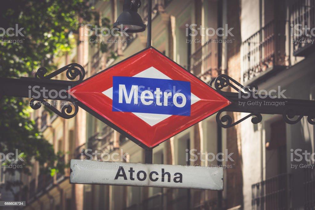 Atocha Metro Station Sign in Madrid Spain - foto de stock