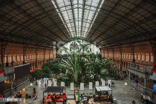 Interior view of Atocha railway station in Madrid, Spain.
