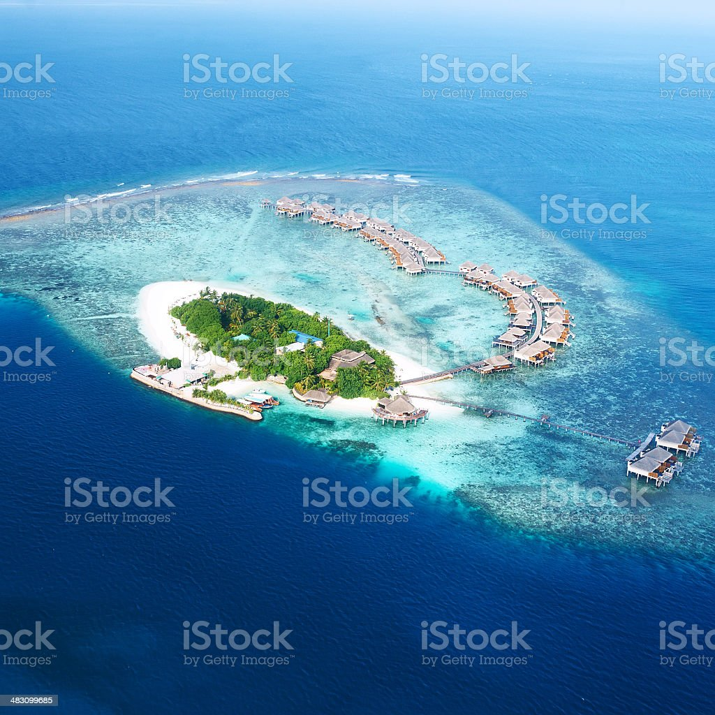 Atolls and islands in Maldives from aerial view stock photo