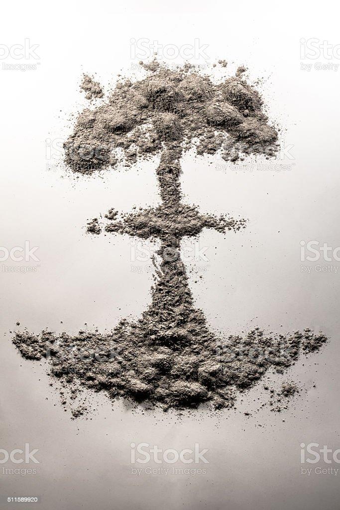 Atom bomb mushroom cloud made of ash stock photo