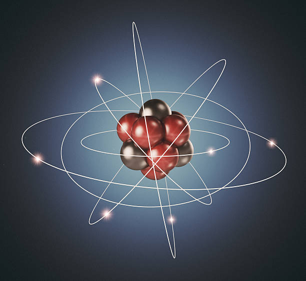 Atom. Elementary particle. 3D Background of nuclear physics stock photo