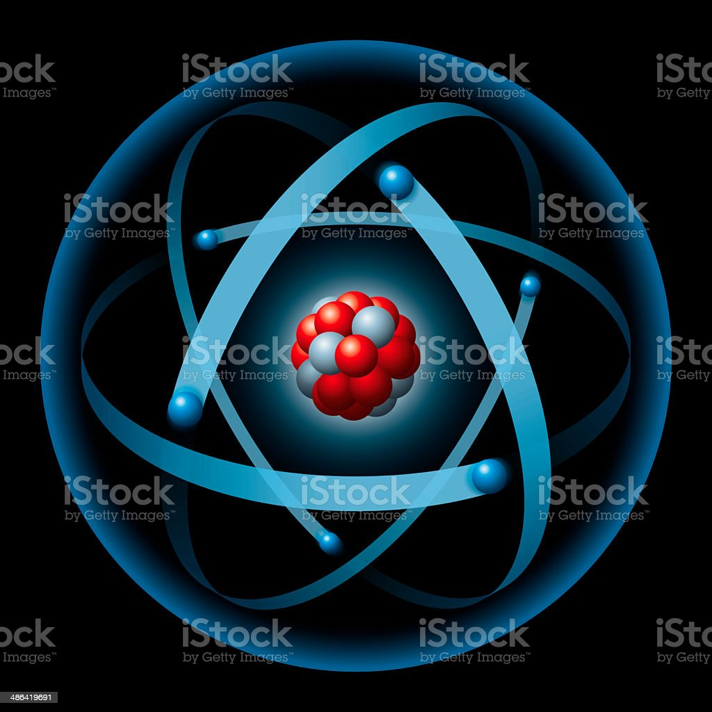 Atom Having Nucleus And Electrons stock photo