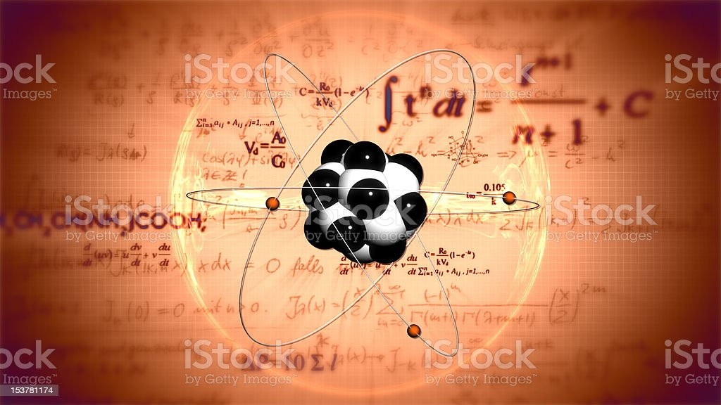 Atom model. Science background stock photo