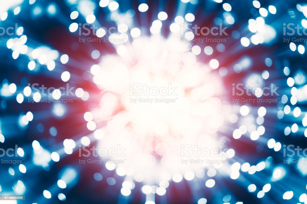 Atom Nuclear reaction explode from Nucleus spread release gamma ray energy from inside science concept stock photo