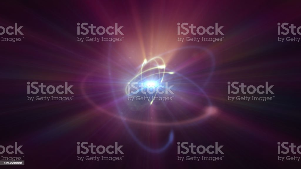 atom orbit in space stock photo