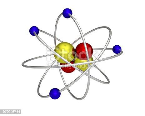 629533394 istock photo atom proton electron neutron atomic physics 970046744