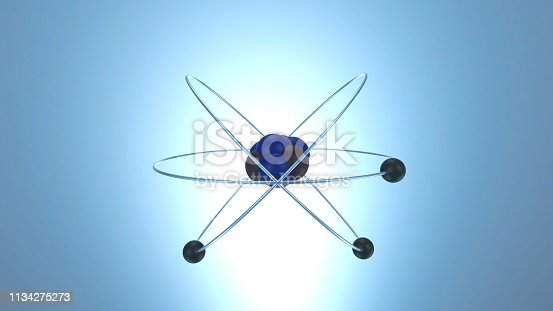 Electrons orbiting around neutrons and protons.