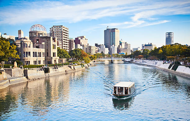 Atomic Bomb Dome at Hiroshima , Japan Atomic Bomb Dome or Genbaku Dome is the Nuclear Memorial at Hiroshima , Japan hiroshima prefecture stock pictures, royalty-free photos & images
