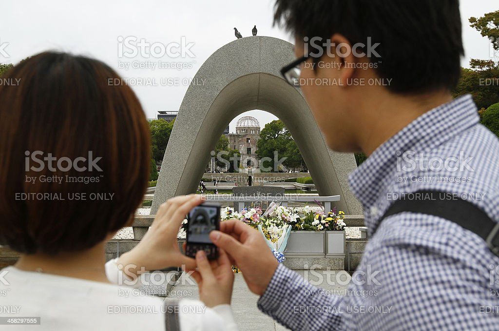 Atomic Bomb Dome at Hiroshima Peace Memorial Park royalty-free stock photo