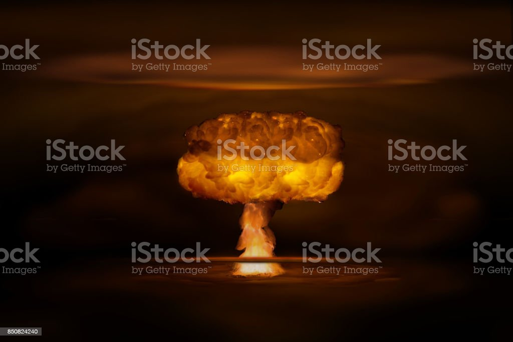 Atomic bomb realistic explosion, orange color with smoke on black background royalty-free stock photo