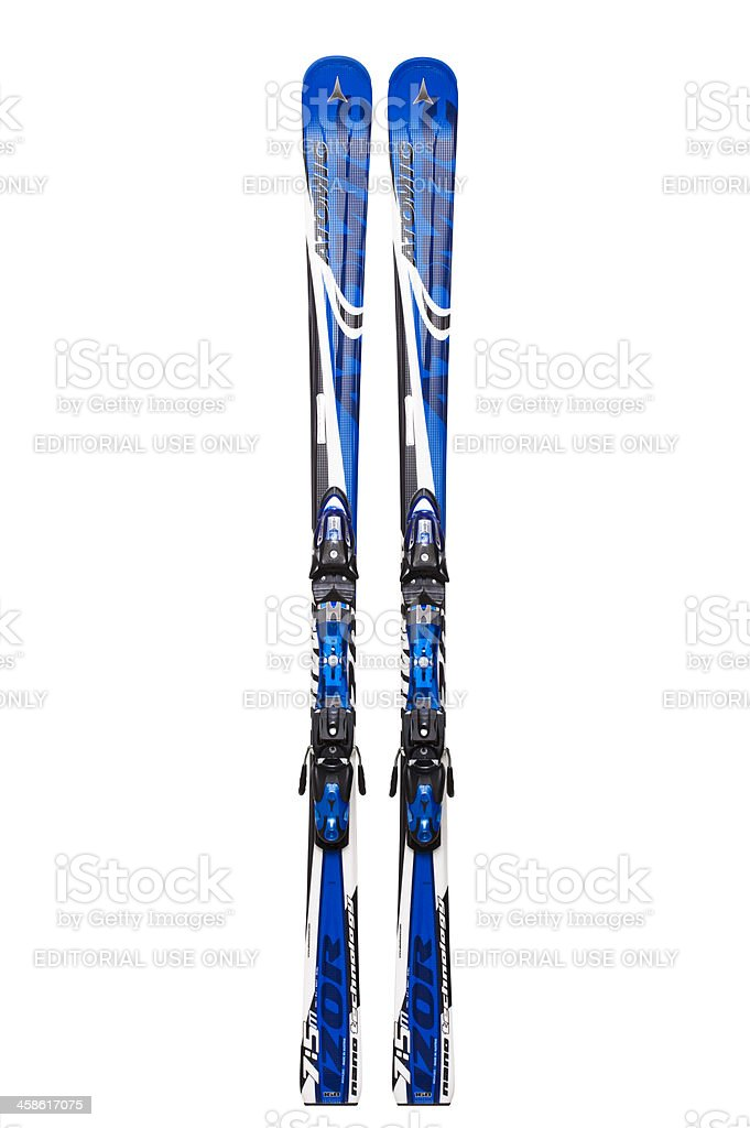 Atomic carving skis, isolated on white, clipping path stock photo