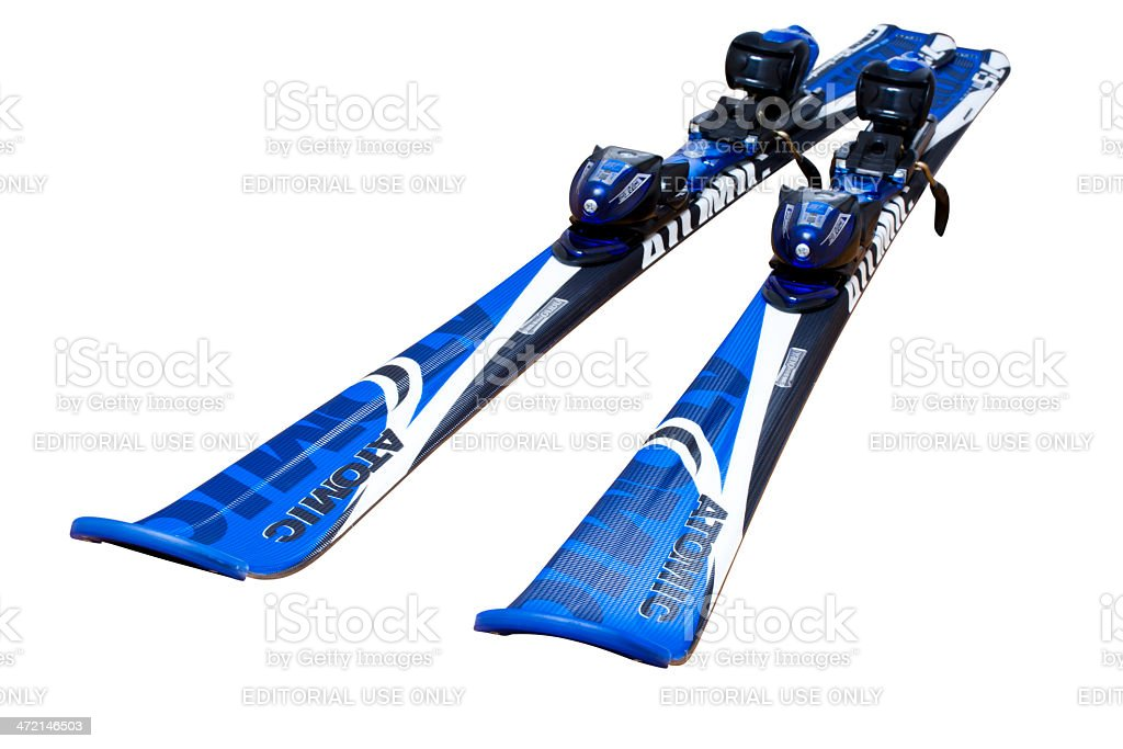 Atomic carving skis isolated on white clipping path stock