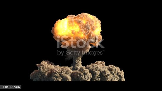 atomic explosion on black background